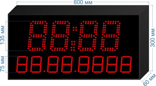 """Электронное табло часы-календарь """"LEDTEX-CN-HM135-D75_v1"""""""