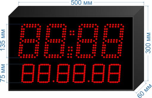 """Электронное табло часы-календарь """"LEDTEX-CN-HM135-D75_v2"""""""
