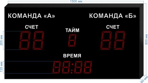 "Спортивное табло для футбола ledtex-sp-ft-205_v1 1500x800x60 мм. ООО ""Светодиодные Технологии"""