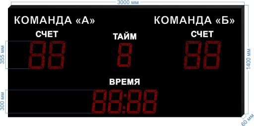"""Спортивное табло для футбола sp-ft-355_v1 3000x1400x60 мм. ООО """"Светодиодные Технологии"""""""