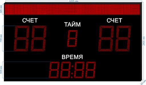 "Спортивное табло для футбола sp-ft-785-bs320_v1 4205x400x60 мм. ООО ""Светодиодные Технологии"""