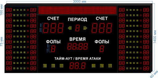 "Cпортивное табло для баскетбола LEDTEX-SP-BB-205-BS160_v4 3000x1400x60 мм. ООО ""Светодиодные Технологии"""
