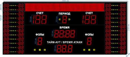 "Cпортивное табло для баскетбола LEDTEX-SP-BB-355-BS320_v4 5000x2100x60 мм. ООО ""Светодиодные Технологии"""