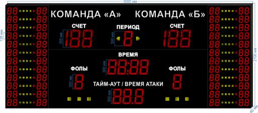 "Cпортивное табло для баскетбола LEDTEX-SP-BB-355_v4 5000x2100x60 мм. ООО ""Светодиодные Технологии"""