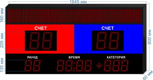 """Электронное табло для бокса ledtex-SP-BK-205-BS160_v1 1665x1000x60 мм. ООО """"Светодиодные Технологии"""""""