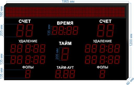"""Электронное табло для гандбола LEDTEX-SP-GN-205-BS160_v1 1965x1200x60 мм. ООО """"Светодиодные Технологии"""""""