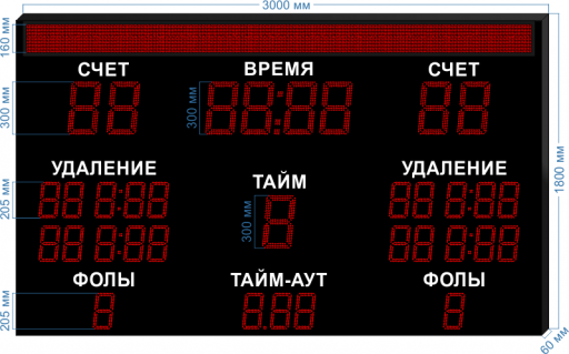 """Электронное табло для гандбола LEDTEX-SP-GN-300-BS160_v1 3000x1800x60 мм. ООО """"Светодиодные Технологии"""""""