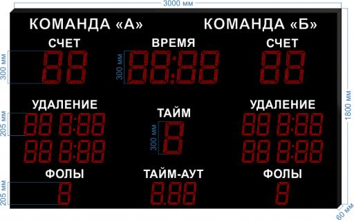"""Электронное табло для гандбола LEDTEX-SP-GN-300_v1 3000x1800x60 мм. ООО """"Светодиодные Технологии"""""""
