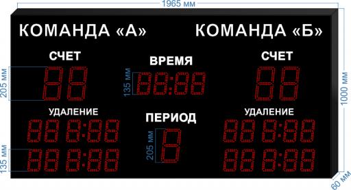 """Электронное табло для хоккея ledtex-SP-HK-205_v1 1965x1000x60 мм. ООО """"Светодиодные Технологии"""""""