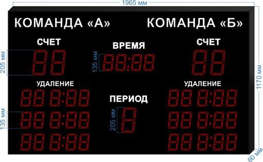 """Электронное табло для хоккея LEDTEX-SP-HK-205_v2 1965x1000x60 мм. ООО """"Светодиодные Технологии"""""""
