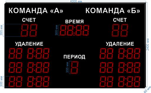 """Электронное табло для хоккея LEDTEX-SP-HK-355_v2 4000x2400x60 мм. ООО """"Светодиодные Технологии"""""""