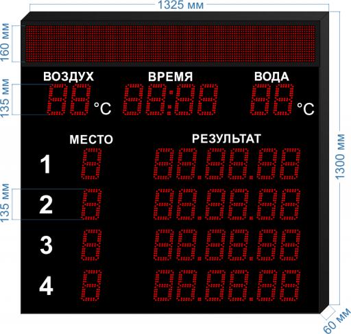 """Электронное табло для плавания LEDTEX-SP-PL-V135-4D_v3 1325x1300 мм. ООО """"Светодиодные Технологии"""""""