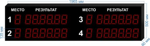 """Электронное табло для плавания LEDTEX-SP-PL-VG135-4D_v1 1965x500x60 мм. ООО """"Светодиодные Технологии"""""""