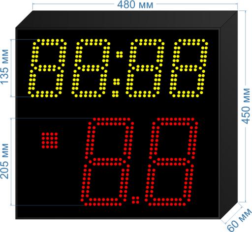 """Электронное табло атаки 14/24 сек. для спортивных соревнований по баскетболу """"LEDTEX-SP-TA-205_v1"""" 480x450x60 мм. ООО """"Светодиодные Технологии"""""""
