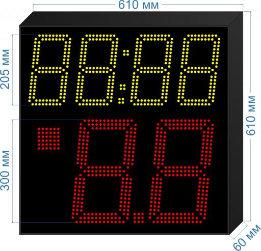 """Электронное табло атаки 14/24 сек. для спортивных соревнований по баскетболу """"LEDTEX-SP-TA-300_v1"""" 610x610x60 мм. ООО """"Светодиодные Технологии"""""""