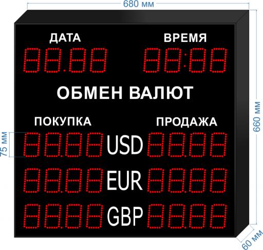 Табло курсов валют KV-75-4x3DT