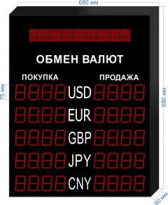 Табло курсов валют KV-75-4x5BS