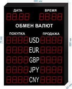 Табло курсов валют KV-75-4x5DT