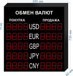 Табло курсов валют KV-75-4x5