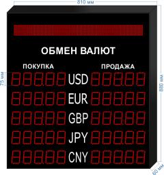 Табло курсов валют KV-75-5x5BS